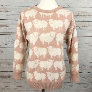 Vintage Blush Cream Sheep Wool Sweater